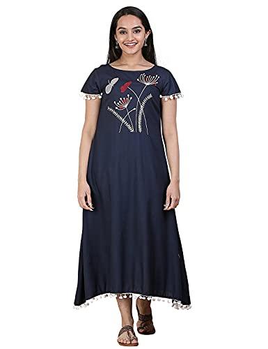 Rustorange Women's Viscose A-Line Indigo Embroidered Midi Dress (Blue)