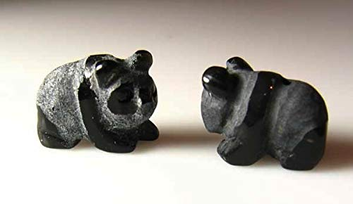 Adorable Hand Carved Onyx Panda Bear Beads for Jewelry Making 009292Ox