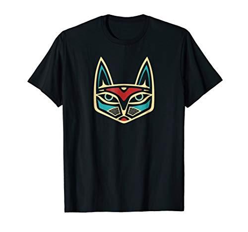Northwest Indian Cat Head Formline Design T-shirt Dark