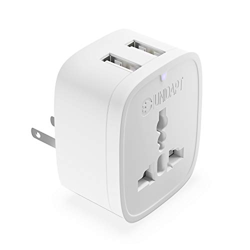Europe to US Plug Adapter with 2 USB Outlet, Unidapt American USB Wall Charger, EU Australia China UK Europe to USA Canada Mexico Japan Travel Plug Socket Adapter (Type A/B)