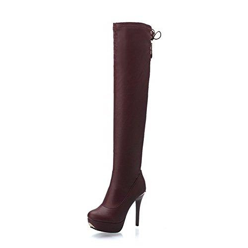 AgooLar Damen Rund Zehe Blend-Materialien Hoch-Spitze Hoher Absatz Stiefel Braun-Stiletto