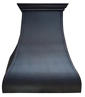 Sinda Copper Range Hood Oil Rubbed Bronze Patina with Decorative Straps Comes with Professional Stainless Steel Vent H13ST