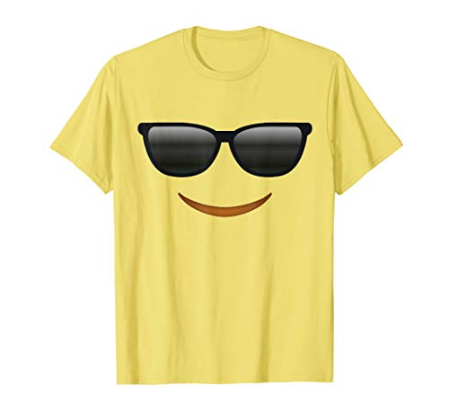 Cool Sunglasses Emoticon Face Costume T-Shirt for Halloween -