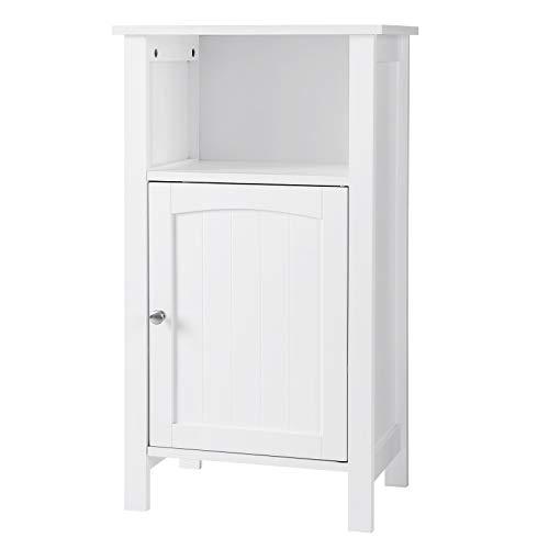 VASAGLE Bathroom Floor Storage Cabinet with Single Door Adjustable Shelf White UBBC45WT,vasagle