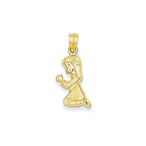 14K Yellow Gold Praying Girl Pendant