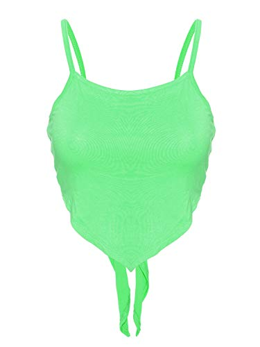 Instar Mode Women's Plain Stretchy Asymmetric Tie Knob Open Back Bandana Crop Top Shirt- Made in USA Neon Green L ()