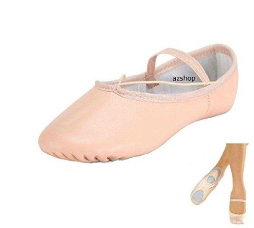 Awans - Zapatillas de danza de Piel para niña rosa rosa