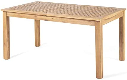 Christopher Knight Home 305356 Eric Outdoor Expandable Acacia Wood Dining Table, Natural Finish