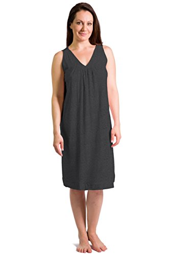 Fishers Finery Women's Tranquil Dreams Sleeveless Nightgown  Comfort Fit, Heather Gray, Small