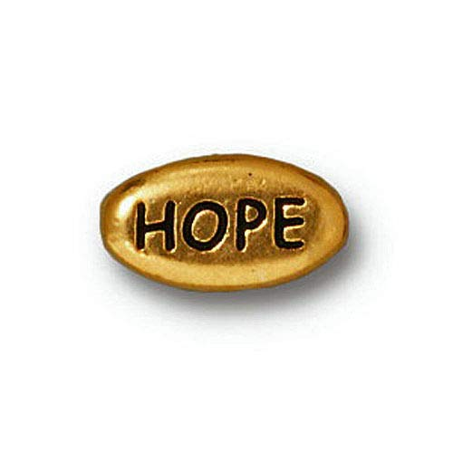 Gold Plated Pewter Hope Message Word Bead 6 Craft Jewelry Beads Pb28