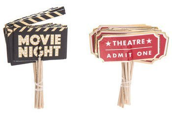 Movie Night Cupcake Toppers Food Picks Movie Night Party Toppers Pack of 24 ()