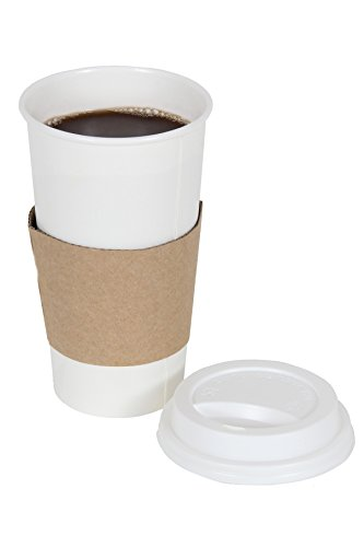 CucinaPrime 100 Pack Paper Coffee Hot Cups WHITE with Travel Lids and Sleeves - - 20 Beverage Ounce