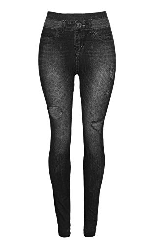 Crush Womens Printed Distressed Denim Jeggings Leggings Black Size Large X Large