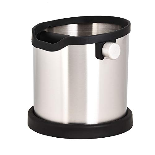 1.8L Stainless Steel Espresso Knock Box Coffee Grind Shock-Absorbent Knock Box Espresso Dump Bin Perfect for Most Espresso Machines