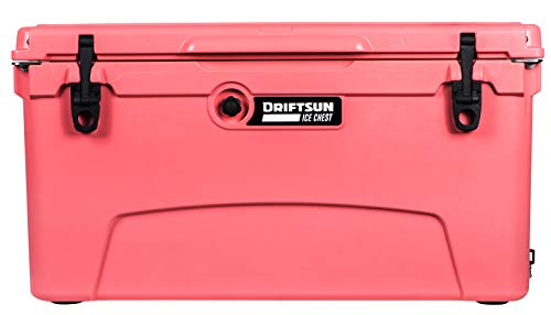 Driftsun 75 Quart Ice Chest, Heavy Duty, High Performance Roto-Molded Commercial Grade Insulated Cooler, Coral