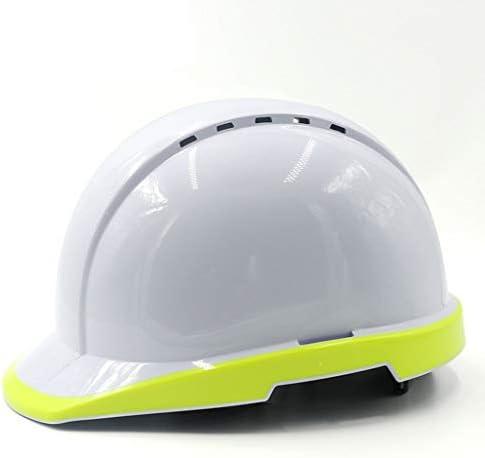 Rui Peng 安全性 ハード帽子 - 工事現場夜間工事をリードする電気労働保険ヘルメット工事ホワイトアンチダニ通気性蛍光高輝度帽子頭保護具、 (Color : Fluorescent yellow)