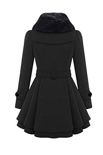 De Manteau Vêtements Une Plissée D'hiver D'amour Lettre Femme Bowknot Double À Black Boutonnage 1v58ngP