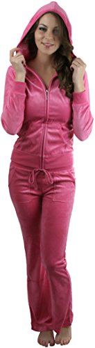 ToBeInStyle Women's Velour Tracksuit Jacket and Matching Pants - Dusty Rose - 1X