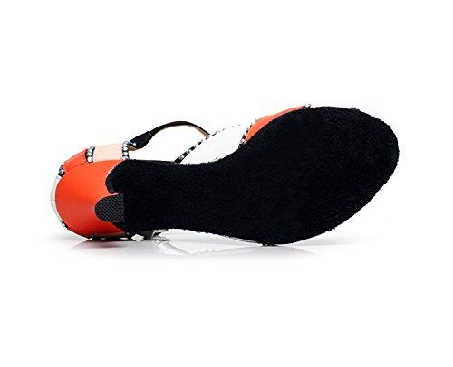 UK3 Orange Talons Hauts heeled7 Thé Satin Tango étincelant Our34 Chaussures EU33 Moderne 5cm Latin Samba Salsa Cristaux De Sandales JSHOE Danse Femmes De Jazz Chaussures qHwcBxTU
