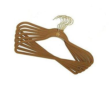 (Joy Mangano 10-Pc. Huggable Hanger Set for Suits & Pants - Rich Camel (Brass))