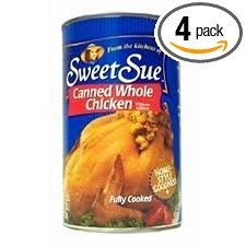 Sweet Sue Canned Whole Chicken without Giblets 50oz Can (Pack of 4) by Sweet Sue