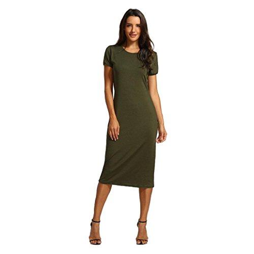 TOPUNDER Women Solid Dress Short Length O-Neck Mid-Calf Straight Princess Dress -