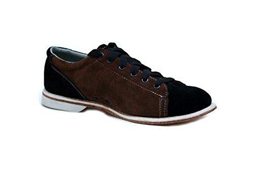 Bowlio Supreme - Chaussures de bowling en cuir de velours noir et brun - Adulte et enfant