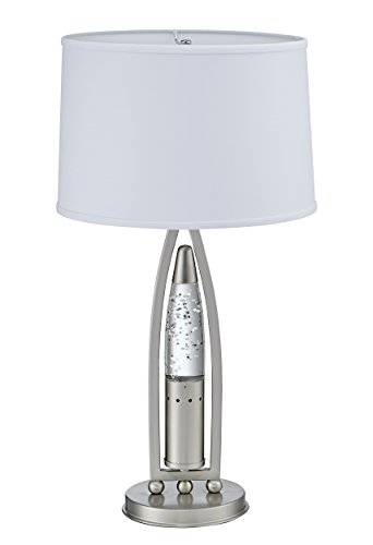 Homelegance Satin Nickel Metal Finish Table lamp with Bullet Shaped Sparkling Decorative Water-Drop Dancing Water Mood Light, Night Light