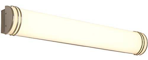 NEW Brushed Nickel Modern Frosted Bathroom Vanity Light Fixture | Contemporary Sleek Design | Vertical or Horizontal LED Wall Sconce | 3000K Warm White 36'