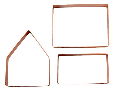 Bake Your Own Small Gingerbread House Kit ~ 3 Piece Copper Christmas Cookie Cutter Set by The Fussy Pup (Mold Gingerbread House)