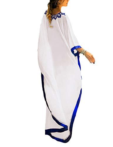 - Ailunsnika Women Chiffon V Neck Embroidery Robe Swimsuit Cover Up Sexy Long Plus Size Side Slit Kaftan Beach Dress