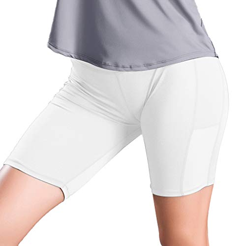 iHPH7 Pants Women's Pocket Shorts Leggings Stretchy Side Pocket Stitching Fixed Stretch Tight Fitness Running Yoga Pants S White