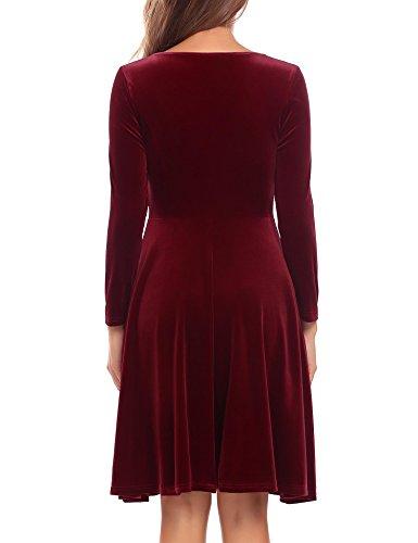 Velours À Manches Longues Occasionnel Des Femmes Burlady Solide Une Ligne Ourlet Plissé Sexy Robe Rouge Bat Son Vin