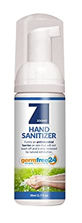 GermFree 24 50ml Foam Hand Sanitizer - Long-Lasting 24 Hour Effect - Kills 99.99% Of Germs & Provides All Day Protection - Non-Staining - Odorless - Made in USA