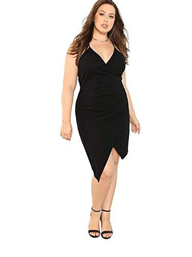 Milumia Women's Plus Size V Neck Spaghetti Strap Ruched Party Wrap Cami Dress Black