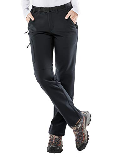 MIER Women's Fleece Lined Cargo Pants Insulated Softshell Hiking Pants with 3 Zipper Pockets, Stretchy, Black, M - Outdoor Soft Shell