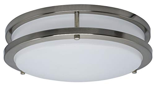 10' Wide Flush Mount - MingBright 10-Inch CETL Listed LED Ceiling Flush Mount Light Fixture Brushed Nickel, 16Watts, 3000K Warm White, Dimmable