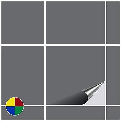 FoLIESEN - Adesivi per Piastrelle, 15 x 15 cm, PVC, Argento Lucido, 20 Pezzi