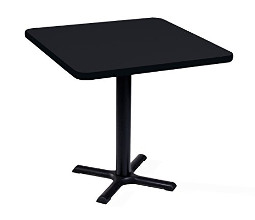 Correll BXT24S-07 Black Granite Top and Black Base Square Bar, Café and Break Room Table, 24""