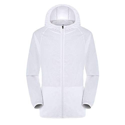 ninRYA Men's Women Hooded Zip-up Jackets Windproof Ultra-Light Rainproof Windbreaker Top (White, 4X-Large)