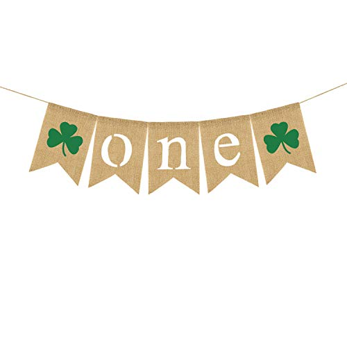Jute Burlap One Banner St. Patrick's Day Shamrock Boy Girl 1st Birthday Party Decoration Photo Prop ()