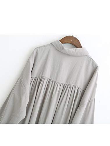 Uni Casual Gris Longue Mallimoda Chemisier Manches Simple Robe Blouse Femme wqIZ1Bxp