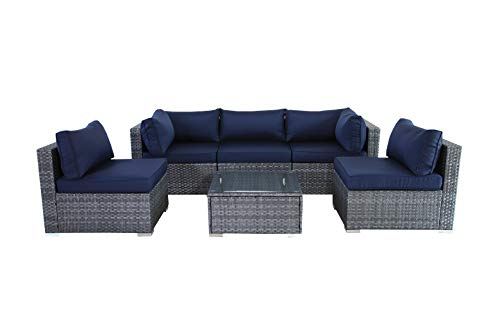 JETIME Outdoor Rattan Furniture 6pcs Patio Grey Conversation Set Garden Sofa Set Sectional Couch with Navy Cushion - -Outdoor 6pcs Sofa set Size:-Corner Sofa:29.5 x 29.5 x 25.6 in -Middle Sofa: 25.6 in x 29.5 in x 25.6 in -Tea Table 25.6 in x 25.6 in x 13.4 in -Seat Sofa Height:13.4 in -Back Sofa Heigt:25.6 in -Cushion thickness:4 inch -Patio Rattan Furniture Material:PE Rattan,Steel Frame ,Polyester Fabric,Cushion is waterproof. -Garden Wicker Conversation Sofa includes:-1 x Tea Table/Ottoman -2 x Corner Sofas -3 x Middle Sofas - patio-furniture, patio, conversation-sets - 31VEyNuTUjL -