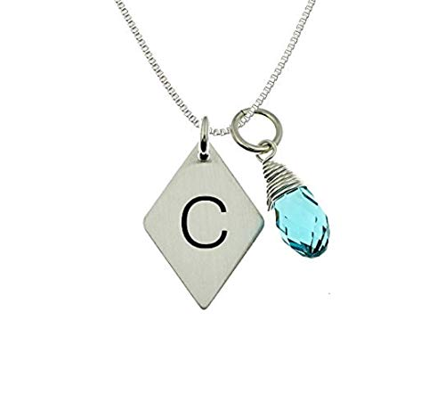 (AJ's Collection Diamond Shaped Personalized Sterling Silver Initial and Swarovski Birthstone Briolette Charm Necklace. Hand Finished. Chic Gifts for Her, Wife, Girlfriend, and)
