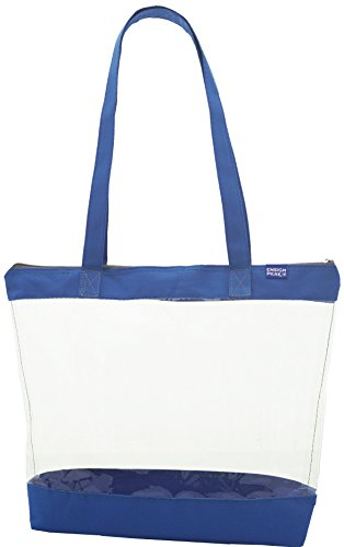 Clear Shoulder Tote with ZIPPER Closure, Royal