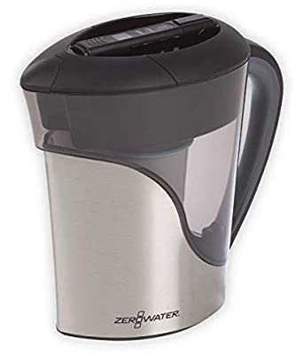 ZeroWater 11 Cup Stainless Steel Water Filter Pitcher with Free Water Quality Meter