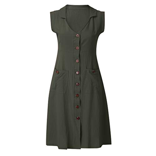 Tantisy ♣↭♣ Women's New Cotton Linen Full Front Buttons Jacket Outfit V-Neck Sleeveless Shirt Tunic Dress with Pockets/S-5XL Army Green (Best Mid Range Vacuum Cleaner)