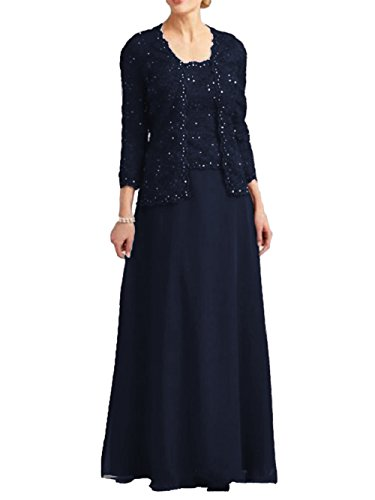 Lace Mother of The Bride Dress with Jacket Beaded Long Chiffon Formal Gown Navy Blue US8