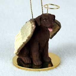 Chocolate Labrador Retriever Tiny One Dog Angel Christmas Ornament