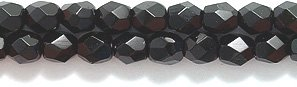 Preciosa Czech 3-mm Fire-Polished Glass Bead, Faceted Round, Black, - Beads Round Marbled Glass